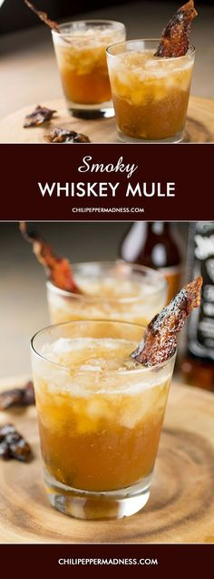 Smoky Whiskey Mule - Candied Bacon infused Whiskey with Hard Ginger Beer | ChiliPepperMadness.com