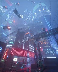 Cyberpunk urban city street environment landscape cityscape concept Art by Alex Calandri futuristic city #LandscapeConcept