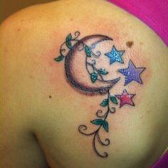 Crescent moon, Stars and Vines tattoo