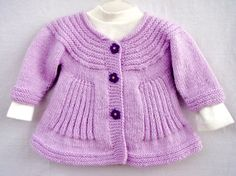 Lilac Handknit Baby Coat Light Purple Knitted Girl by VessCrafts, $36.50
