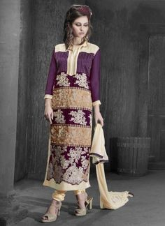 Exceeding Purple And Cream Embroidery Heavy Work Churidar Suit