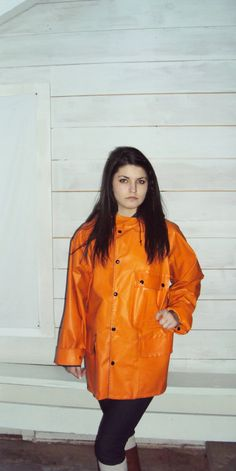70s PVC Vinyl Rain Coat Reversible // Slicker by wayfarervintage