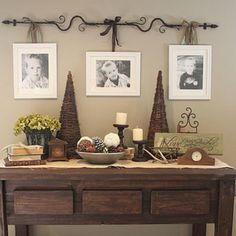 "COUNTRY GIRL HOME: my new ""hand crafted"" sofa table. Check out curtain rod for hanging pictures. Country Girl Home, Country Decor, Country Style, Country Homes, Modern Country, Country Living, Home Interior, Interior Design, Interior Paint"