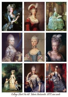 Digital Collage Sheet Marie Antoinette Artist Trading Cards to print yourself