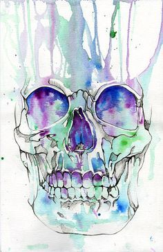 Skull Rainbow Watercolor Painting Skulls Art Print   Print ...