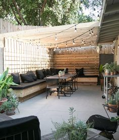 my patio: before after 2019 Cute backyard gathering area. Love the banquette style seating which looks wide enough for a nap. Must be so pretty at night wit the lights on The post my patio: before after 2019 appeared first on Backyard Diy. Small Backyard Landscaping, Small Patio, Backyard Pergola, Landscaping Design, Small Yards, Pergola Kits, Desert Backyard, Cozy Backyard, Pergola Roof
