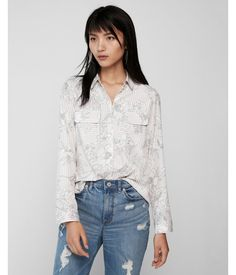 Floral Stripe City Shirt By Express Pink Women's XX Small