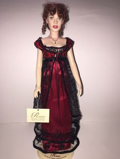 Franklin Mint Titanic Rose Vinyl Doll Black And White