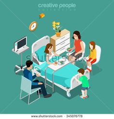 Hospital ward patient bed family care visiting flat 3d isometry isometric medical concept web vector illustration. Young sick female eating husband sister children speaking. Creative people collection