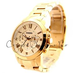 Ceas Fossil FS4814 Grant Chronograph Gold Watch, Chronograph, Fossil, Watches, Accessories, Wrist Watches, Wristwatches, Tag Watches, Watch