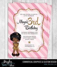 Pink Glitter Custom  Birthday Invitations, 4x6 or 5x7 Custom Character color Birthday Party Invitation by MUJKA on Etsy