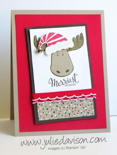 Stampin' Up! Jolly Friends Moose Christmas Card #stampinup 2016 Holiday Catalog www.juliedavison.com