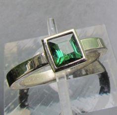 Green Tourmaline 14k Gold Ring Bezel Set October Birthstone Gemstone Jewelry