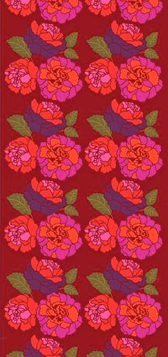 floral, pattern, print, red, pink, textile, burple, green, orange, color palette from: coquidv Marimekko Musta Ruusu satin