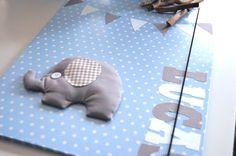 _schöne Sammelmappe im A3 Format_   eine graue Sammelmappe habe ich mit blauem Papier mit weißen Punkten bezogen anschließend einem Elefanten aus grauer  Baumwolle genäht, leicht mit Watte...