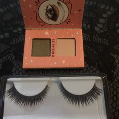 Pro False Lashes and Sephora Eyeshadow Duo New high quality false faux mink eyelashes. Very soft and natural looking. Comes with Sephora magnetic eyeshadow duo (matte beige lid color and dark gold shimmer. No trades. Sephora Makeup False Eyelashes