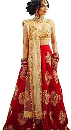 e842de057c Red Embroidered Semi Stitched Lehenga Silk Lehenga, Lehenga Blouse,  Anarkali, Ethnic Dress,