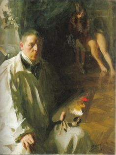 Anders Zorn self portrait with model