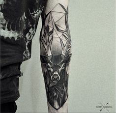Deer tattoo on the inner forearm inspired in several styles. By Łukas Zglenicki Tattoos Masculinas, Forearm Tattoos, Body Art Tattoos, Sleeve Tattoos, Tatoos, Hand Tattoos, Tigh Tattoo, Tattoo On, Tattoo Tree
