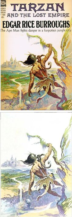 FRANK FRAZETTA - Tarzan and the Lost Empire - Edgar Rice Burroughs - 1962 Ace F-169 - cover by isfdb - print by www.tarzan.org