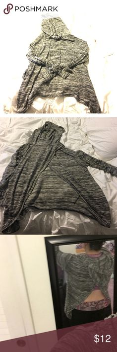 Mossimo Supply Co. sweatshirt-style top Great condition. Heather grey color. Open back. Hood with draw strings. Soft, thin material. Great for fall and spring days! Mossimo Supply Co. Tops Sweatshirts & Hoodies