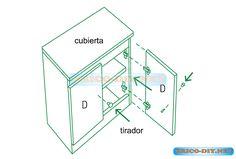Esquinero de cocina plano y medidas | Web del Bricolaje Diseño Diy Planer, Kitchen Cabinets, Woodworking, Furniture, Google, Books, Drawers, Airing Cupboard, Woodwork