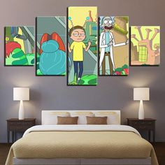 Rick and Morty 5 Panel Canvas Cartoon Wall Art Canvas Artwork, Canvas Frame, Canvas Wall Art, Canvas Prints, Cartoon Wall, Thing 1, Dining Room Walls, Living Room, Decoration