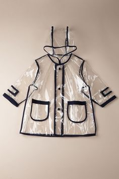 Pluie Pluie  Unlined Transparent Navy Piping Rain Coat