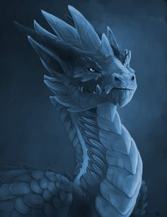 Ice Guardian Dragon by Allagar on DeviantArt. Mythical Creatures Art, Mythological Creatures, Magical Creatures, Fantasy Creatures, Dragon Bleu, Ice Dragon, Water Dragon, Dragon Head, Fantasy Kunst