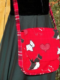 Scottie Dogs and Red Plaid Saddlebag Soft by joliefemmebydiana