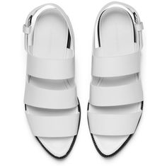 Alexander Wang Women's Alisha Leather Sandals - Bleach (23.725 RUB) ❤ liked on Polyvore featuring shoes, sandals, flats, zapatos, white sandals, white leather sandals, black pointy toe flats, black sandals and black leather flats
