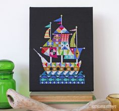 Voyage - Sailing Pirate Ship cross stitch or needlepoint pattern PDF