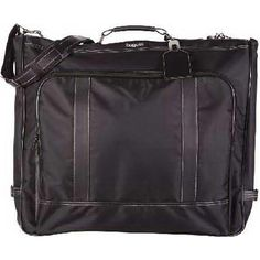 """Black smooth lightweight nylon garment bag with leather look details. Front and back accessory zippered pockets, three interior zipped accessory pockets, dog hook side closing mechanism, detachable J-hook for hanging over door/closet, inside hanger clamp, and personalized identification tab. 22"""" (L) x 3.5"""" (W) x 19"""" (H) - Closed. Available May 2014."""