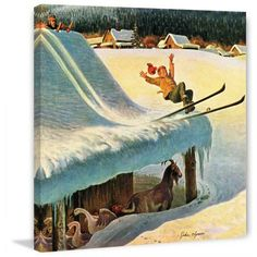Marmont Hill Barn Skiing by John Clymer Painting Print on Canvas, Size: 18 inch x 18 inch, Multicolor