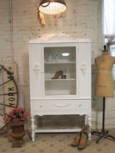 Painted Cottage Shabby White Romantic China Cabinet shabby chic, farmhouse cabinet, french provincial, french farmhouse, white, dining room, kitchen, cottage cabinet, cottage china cabinet, farmhouse kitchen cabinet, painted cottage, hand painted, cottage chic, farmhouse chic, green, grey, oyster, gustavia [CC04] - $325.00 : The Painted Cottage, Vintage Painted Furniture