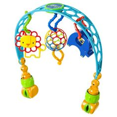 Oball Flex n Go Activity Arch | Easily attaches to almost any stroller and keeps baby entertained with an easy-to-grasp Oball™, a lion rattle, an elephant rattle and Oball Linky Loops™ to attach additional toys. The flexible, soft material keeps little hands busy with a bold colors and tactile challenges.