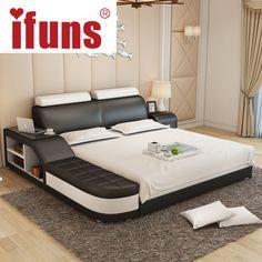 Name: IFUNS Luxus Schlafzimmer Möbel Modernes Design König U0026 Queen Size  Echtem Leder Bett Mit
