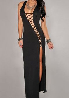 Sexy Women's Criss-Cross Hollow Out Side Slit Dress