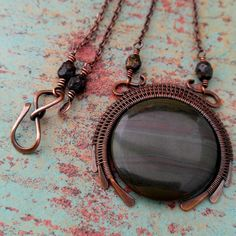 New Moon African Green Jasper Copper Wire Wrapped by Door44Jewelry