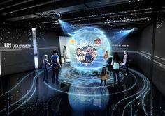 UN peace museum / 유엔평화관건립 Exhibition Room, Interactive Exhibition, Interactive Art, Exhibition Display, Display Design, Booth Design, School Building Design, Architecture Mapping, Virtual Studio