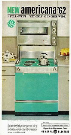 """My mama was so thrilled with her new stove...but it was the newer color, """"avocado green"""" 1962 stove ad"""