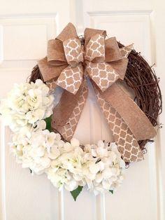Hydrangea Wreath * Spring And Summer Wreath * Front Door Wreath * White  Wreath * Burlap