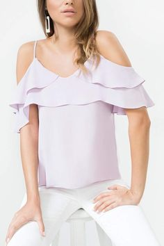 Ruffle detailing at the neckline and is cut to an ultra-feminine cold shoulder silhouette. Cut to a relaxed fit, slip over denim for easy weekend wear. Gladiator Heels, Bootie Sandals, Black Espadrilles, Weekend Wear, Sweater Shirt, Fashion Advice, Short Skirts, Online Boutiques, Shirt Blouses