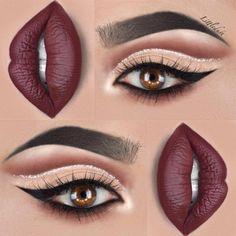 43 Christmas Makeup Ideas to Copy This Season Glitter Cut Crease + Dark Lips Eye Makeup Tips, Lip Makeup, Beauty Makeup, Makeup Ideas, Nail Ideas, Beauty Tips, Makeup Style, Makeup Tutorials, True Beauty
