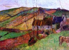 Cottages on Mount Saint Marguerite by Paul Gauguin in oil on canvas, done in Now in a private collection. Find a fine art print of this Paul Gauguin painting. Paul Gauguin, Vincent Van Gogh, Henri Matisse, Tahiti, Impressionist Artists, European Paintings, French Artists, Modern Art, Art Gallery