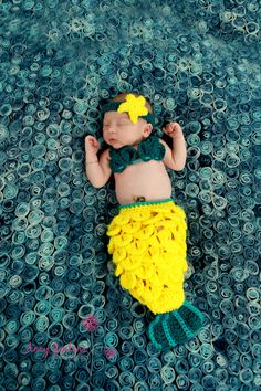 Newborn Crochet Mermaid Tail - Bright Yellow With Turquoise Accent