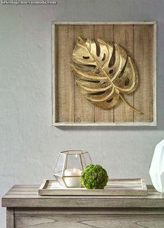 golden Adam's rib leaf pinned to a rustic wooden board goldenes Adamsrippenblatt an einem rustikalen Holzbrett befestigt, # Metal Wall Decor, Diy Wall Art, Metal Wall Art, Wood Art, Wall Art Decor, Painting On Metal, Oil Painting Abstract, Office Deco, Leaf Art