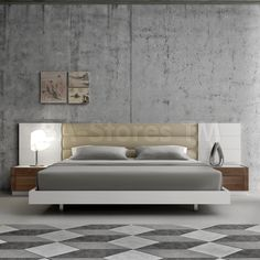 Lisbon White Lacquer/Walnut Contemporary Platform Bed