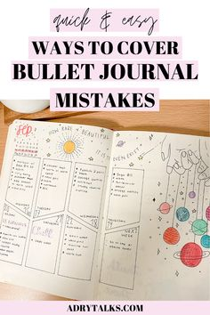 Bullet journal mistakes can be frustrating and annoying to deal with! Here are 7 creative ways to cover up and hide your bullet journal mistakes. Bullet Journal Contents, Bullet Journal Monthly Spread, Bullet Journal Tracker, Bullet Journal Aesthetic, Bullet Journal Themes, Bullet Journal Layout, Bullet Journal Inspiration, Journal Ideas, Bullet Journal For Beginners