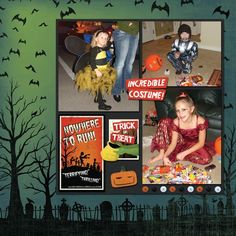 """Halloween Scrapbook Layout - great way to use that pre-printed background paper - one giant """"mat"""""""